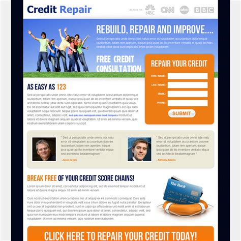 Photo Credit Page Format Landing Page Design Templates For Lead Business Marketing Conversion