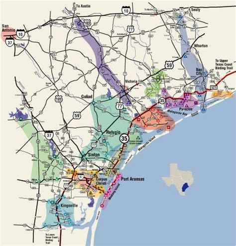 texas coastal cities map great texas coastal birding trail central texas coast ctc the map highlights the different