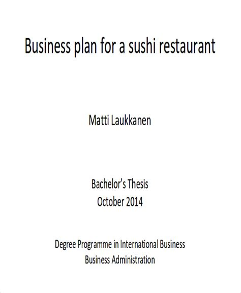 small restaurant business plan template 6 sle restaurant business plan exles in word pdf