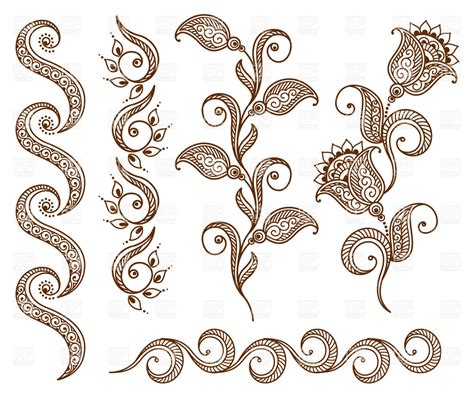 collection of floral ornamental design elements royalty