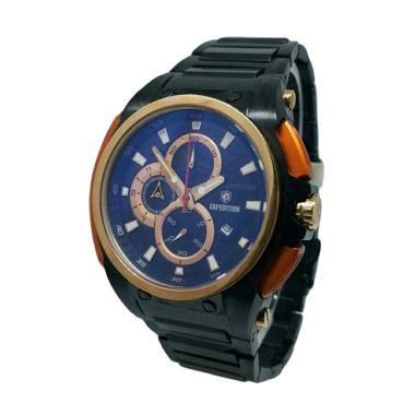 Jam Tangan Expedition Pria Original Hitam Lis Gold jual expedition 140082 chronograph tali rantai jam tangan pria gold merah bata hitam