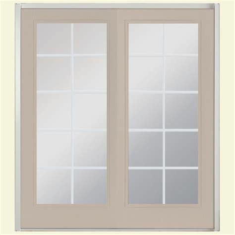 Masonite Patio Door Masonite 72 In X 80 In View Prehung Left Inswing 10 Lite Fiberglass Patio Door