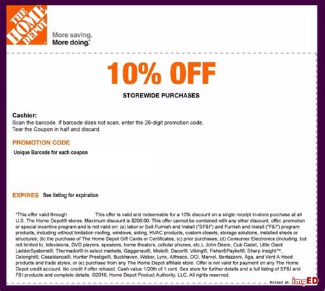 1 home depot 10 coupon in store only expires 2 7 2017