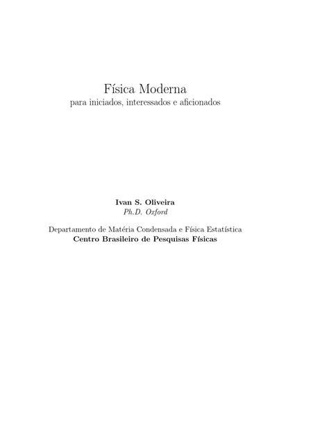 Fisica moderna para iniciados, interessados e aficionados