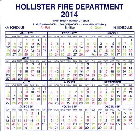 Firefighter Shift Calendar Generator