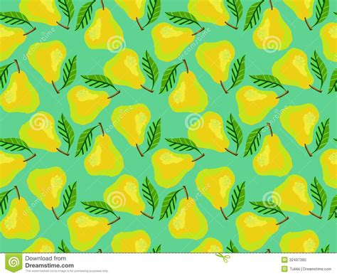 Grunge pattern with painted yellow pears and leafs stock vector image 32497380