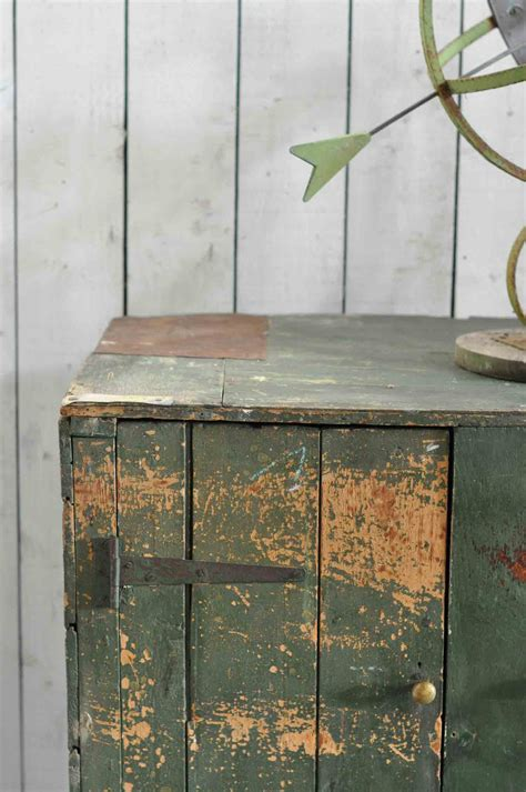 rustic green vintage dairy cupboard featuring original rustic green