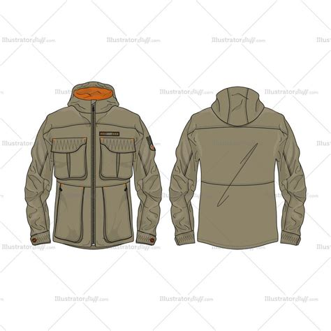 Men's Army Field Jacket Vector Fashion Flat Template