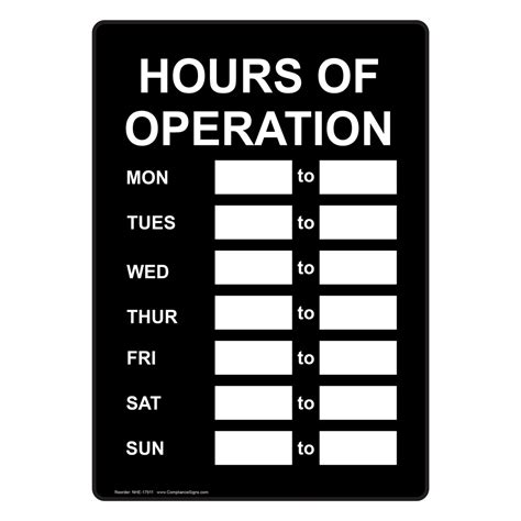 hours of operation sign nhe 17911 dining hospitality
