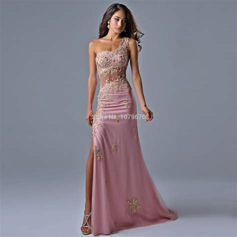 Pretty Dresses by Pretty One Shoulder Sheer Pink Prom Dresses Lace