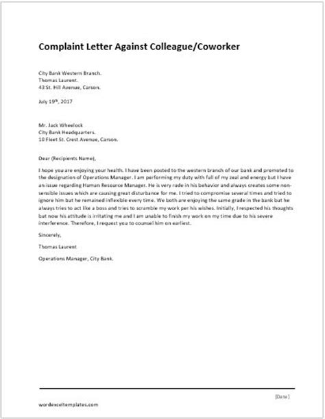 Complaint Letter For Coworker Sle complaint letter for illegal parking word excel templates