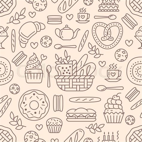 cake background pattern vector bakery seamless pattern food vector background of beige