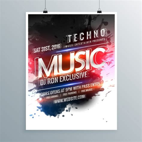 moderne poster modern poster template of techno vector free