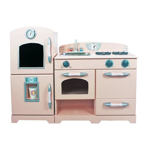 childrens wooden kitchen furniture teamson 2 retro wooden play kitchen in pink