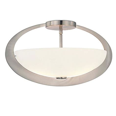 Semi Flush Mount Ceiling Light Brushed Nickel Buy Minka Lavery Earring 2 Light Semi Flush Mount Ceiling Fixture In Brushed Nickel From Bed