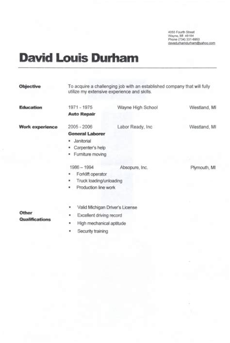 Objective For General Labor Resume by General Labour Objective Exle Resume Resume Template Exle