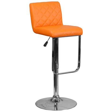 cushioned bar stool flash furniture adjustable height orange cushioned bar
