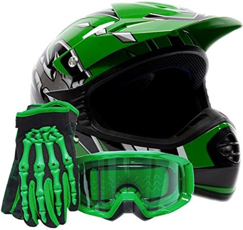 child motocross gear youth offroad gear combo helmet gloves goggles dot