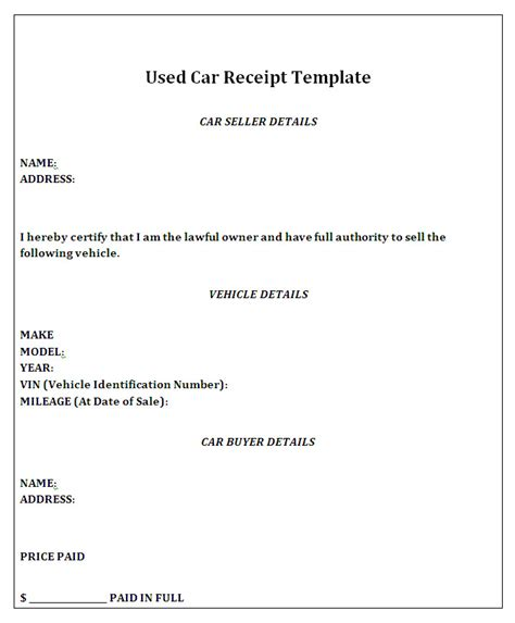vehicle receipt template car sale receipt template free barbara bermudo h