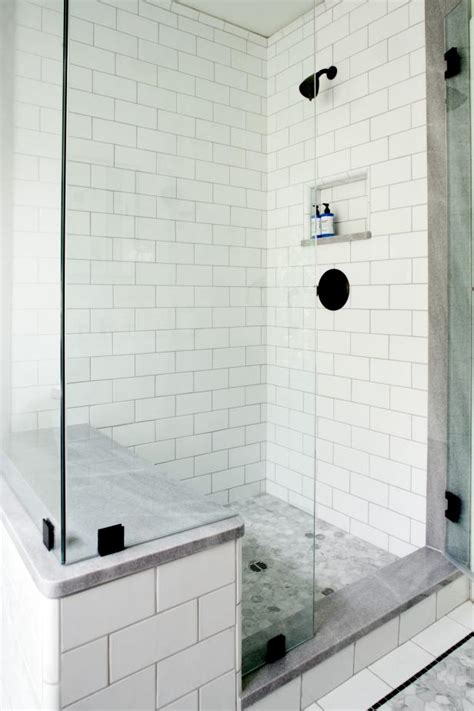 Bathroom Sitting Bench White Tile Walk In Shower With Glass Walls And Sitting