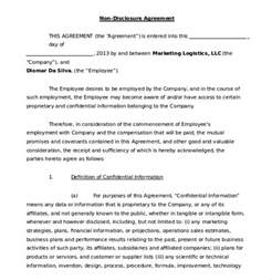 Non Disclosure Agreement For Employees Template 20 word non disclosure agreement templates free download