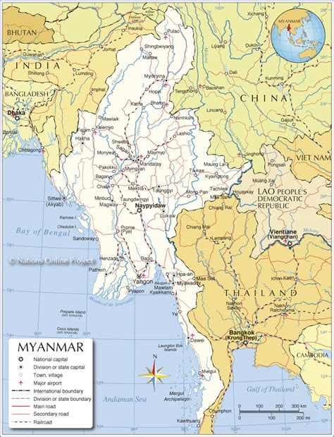 where is myanmar on the map burma in map