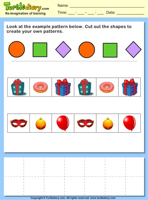 object pattern worksheet cut and paste objects to create your own pattern worksheet