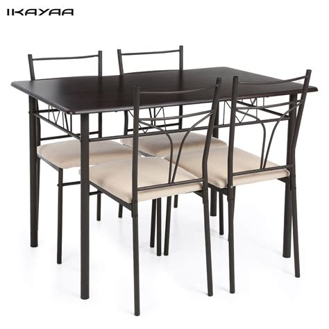 Metal Kitchen Table Ikayaa Us Uk Fr Stock 5pcs Modern Metal Frame Kitchen Table Chairs Set For 4 Person Furniture