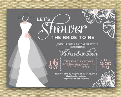 bridal shower invitation wedding gown wedding dress bridal shower invitation dress on hanger any colors printable or printed 2312656