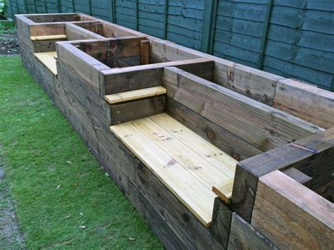 railway sleeper benches les mable s raised beds with bench seats from new railway sleepers