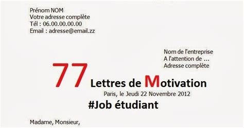 Lettre De Motivation Candidature Spontanée Qualité lettre de motivation 233 tudiant biblioth 232 que