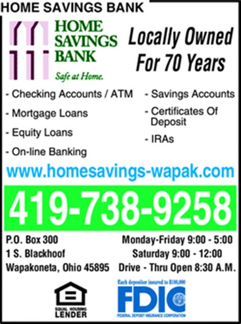 home savings bank wapakoneta oh 45895 yellowbook