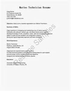 Marine Technician Sle Resume by Resume Sles Marine Technician Resume Sle
