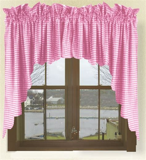 Pink Gingham Valance fuchsia pink gingham check scalloped window swag valance set
