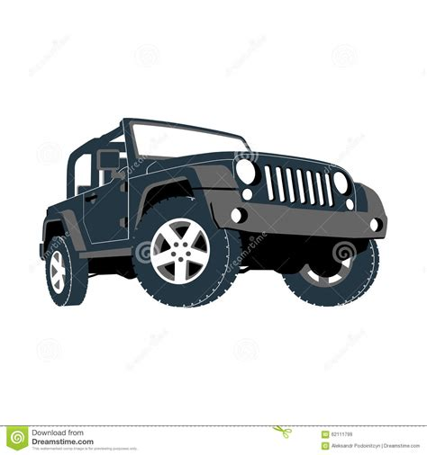 jeep cartoon offroad convertible car off road jeep suv royalty free