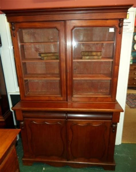 19th Century Small Glass Fronted Mahogany Bookcase Glass Fronted Bookshelves