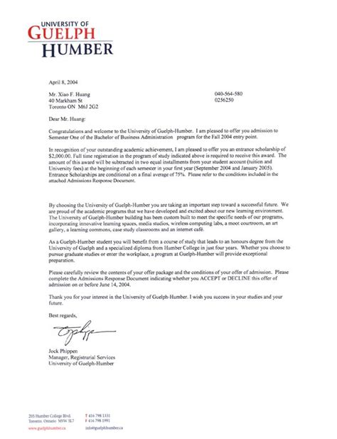 Offer Letter Humber College Lonely Fishes