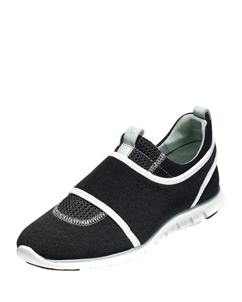 cole haan slip on sneakers cole haan zerogrand slip on sneakers in black for lyst