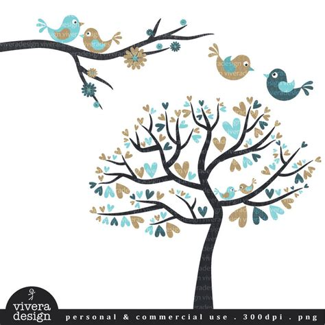 sweet bird and tree clipart set with cute little owl love birds in khaki and blue digital clip art