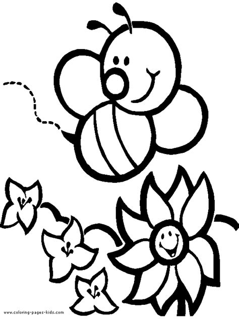 coloring pages of animals and flowers bee with flowers color page coloring pages for kids