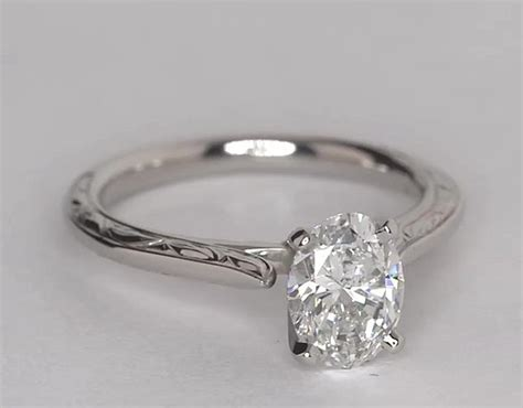 hand engraved profile solitaire engagement ring in platinum blue nile