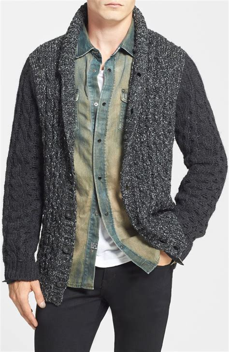 mens cable knit shawl collar cardigan trending style for fall chunky cable knit shawl