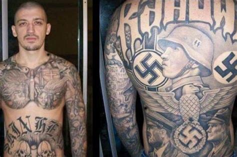 swastika tattoos neo suspect with far right tattoos all his
