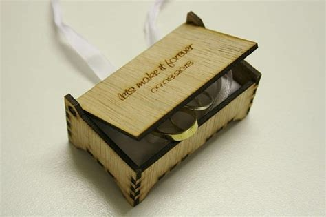 laser cut ply wood ring box for bridal couples wedding rings laser engraved lets make it