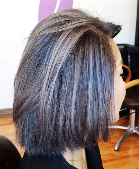 Color Highlights To Blend Gray Into Brown Hair | 30 shades of grey silver and white highlights for eternal
