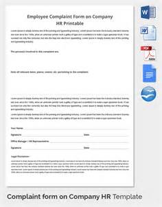 employee complaint template 29 hr complaint forms free sle exle format