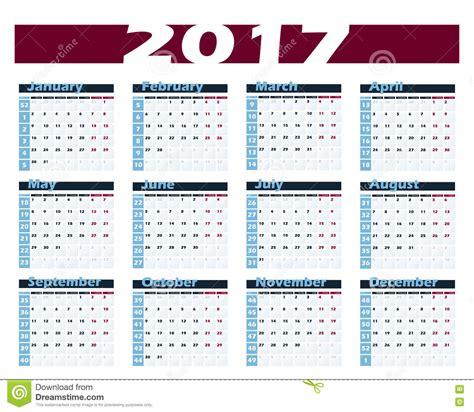 calendario con settimane modello di progettazione di vettore del calendario 2017