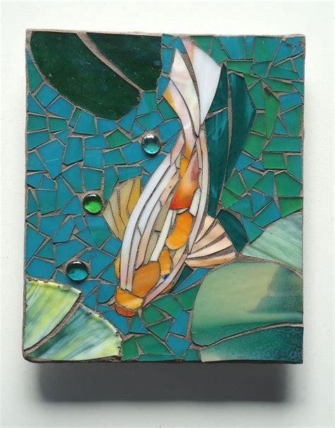 mosaic koi pattern mosaic koi tiles outdoor glass wall art set of 4 koi