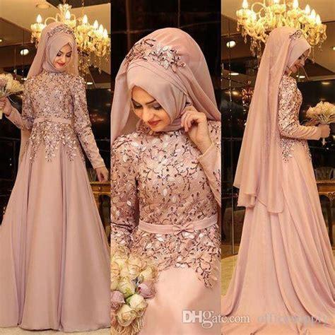 Dress Pesta Gaun Wedding 17 Th Longdress Bridal Hd 1305 Fushia luxurious lace sequins 2018 arabic dresses evening wear