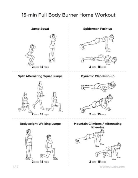 home workout plans men 15 minute full body burner at home workout for men women